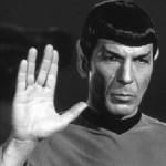 Spock making Vulcan salute