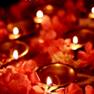 Lit diyas surrounded by red flowers
